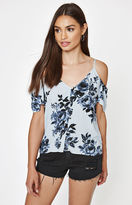 KENDALL + KYLIE Kendall & Kylie Short Sleeve Button Front Cold Shoulder Top