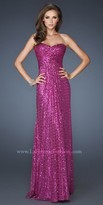 La Femme Sweetheart Sequin Open Back Evening Dress
