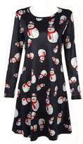 Soficy Women's Christmas Print Pullover Flared A Line Dress Black XL