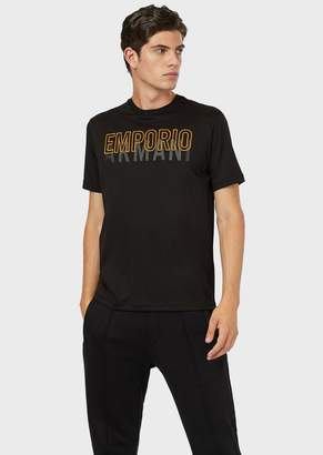 Emporio Armani Cotton Interlock T-Shirt With Embroidery And Print