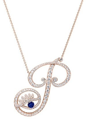 Tabayer Eye 18K Rose Gold, Diamond & Sapphire Powerful Pendant Necklace