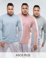 Asos Plus 3 Pack Longline Long Sleeve T-shirt In Blue/grey/pink Save