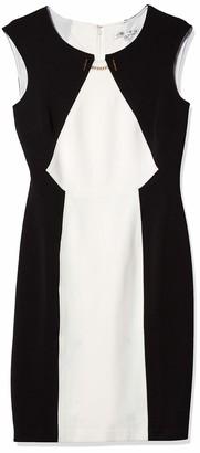 Sandra Darren Women's 1 Pc Extended Shoulder Color Block Lacosta Sheath Dress