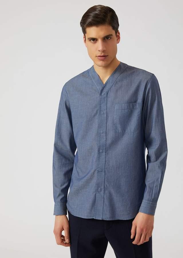 Emporio Armani V-Neck Shirt In Cotton Denim