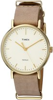 Timex Women's 'Weekender' Quartz Brass and Leather Automatic Watch, Color:Brown (Model: TW2P984009J)