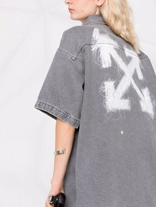 Off-White Logo-Print Denim Shirtdress