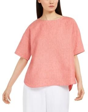Eileen Fisher Organic Linen Boxy Top, Regular & Petite Sizes