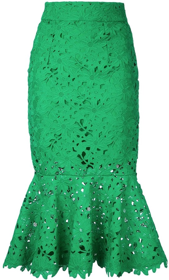 Bambah Floral Lace Patterned Fishtail Skirt