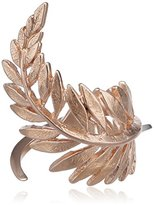 Wouters & Hendrix Women's Rose Gold Plated 925 Sterling Silver Leaf Shaped Ring - Size - L