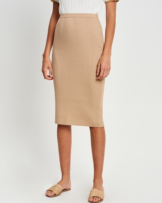 The Fated - Women's Brown Pencil skirts - Josette Knit Skirt - Size 6 at The Iconic