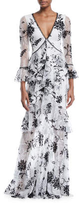 Marchesa Flocked Lace V-Neck & Ruffle Gown