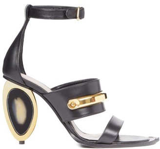 Alexander McQueen Oval-heel Leather Sandals - Black
