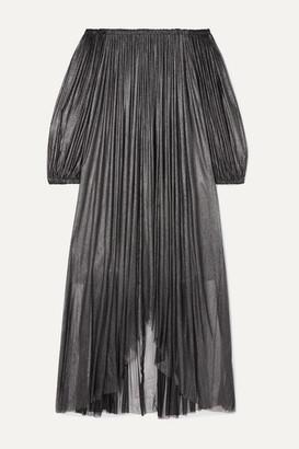 Elena Makri - Arcadia Off-the-shoulder Pleated Metallic Silk-tulle Dress - Silver