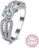 BALANSOHO 925 Sterling Silver Women Cubic Zirconia Solitaire Wedding Engagement Rings Eternity Anniversary Ring Size 8