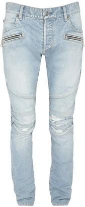 Balmain 15cm Embossed Monogram Slim Jeans