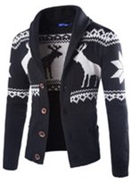 Vogue of Eden Men's Christmas Reindeer Snowflake Knit Cardigan Sweater , XL