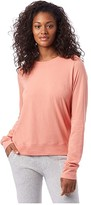 Alternative Heavy Wash Jersey Pullover Crew (Sunset Coral) Women's T Shirt