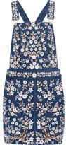 Needle & Thread Embroidered Denim Pinafore Mini Dress
