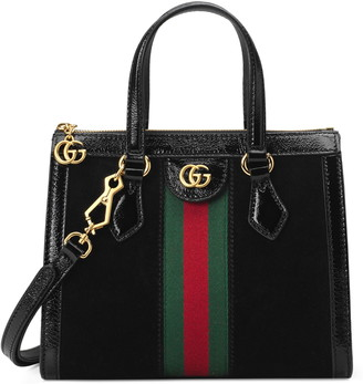 Gucci SmallHouse Web Suede Satchel