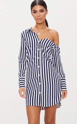 PrettyLittleThing Navy Striped Off the Shoulder Shirt Dress