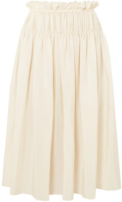 Jil Sander Eterea Gathered Silk Crepe De Chine Skirt