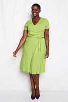 Classic Women's Plus Size Pattern Knit Shirred Surplice Dress-Woodland Pine