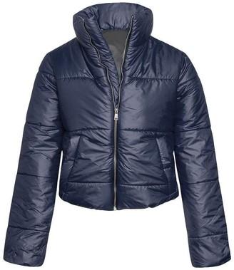 Flirty Wardrobe Womens Wetlook Crop Jacket Warm Coats Padded Bomber Bubble Puffer Short Cool UK [Navy -Large]