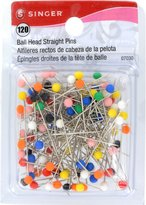 Singer Ball Head Straight Pins, 120-Count
