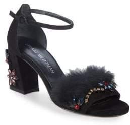 Stuart Weitzman Embellished Mink Trimmed Sandals