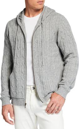 Neiman Marcus Men's Cable-Knit Full-Zip Hoodie Sweater