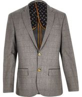 River Island MensGrey check wool-blend slim blazer