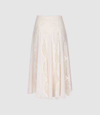 Reiss Ultana - Lace Detailed Midi Skirt in Nude