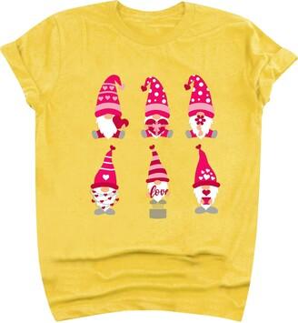 Jiegorge Women's Blouse Women's Cute Dwarf Love Print Short Sleeve T-Shirt