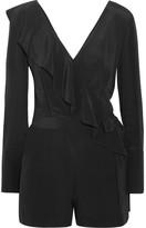 Diane von Furstenberg Ruffled Wrap-effect Silk Crepe De Chine Playsuit - Black