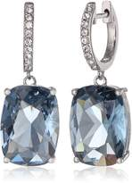 Amazon Collection Sterling Silver Swarovski Elements Tanzanite Color Crystal and Clear Crystal Earrings
