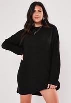 Missguided Plus Size Black Knit High Neck Dress