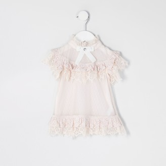 River Island Mini girls Pink frill lace bow top