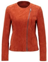 HUGO BOSS - Collarless Jacket In Lamb Suede With Asymmetrical Zipper - Brown