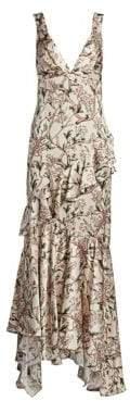 Johanna Ortiz Divine Intervention Floral Ruffle Dress