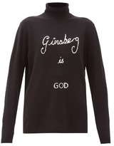 Bella Freud Ginsberg Is God Cashmere Roll-neck Sweater - Womens - Black