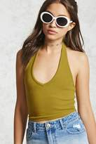Forever 21 Ribbed Knit Halter Crop Top