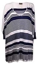 Tommy Bahama Women's High Low Striped Beach Sweater Cover-Up Mare Navy/White SM (US 6-8)