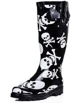 Spylovebuy Flat Skull and Bone Festival Wellies Knee High Rain Boots Rubber US 8