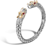 John Hardy Women's Legends Naga Kick Cuff in Sterling Silver and 18K Gold with Pave White Diamond (0.75ct)