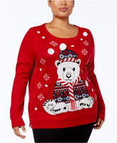Karen Scott Plus Size Holiday Polar Bear Sweater, Created for Macy's