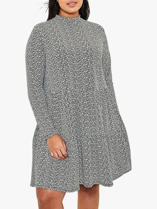 Oasis Curve Leaf Shift Dress, Black/White