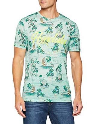 Celio Men's Melullu T-Shirt Multicolour Light Blue, Large