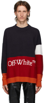 Off-White Navy and Red Color Block Sweater