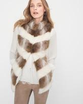 White House Black Market Petite Chevron Faux Fur Vest