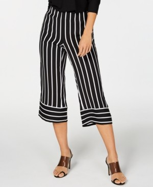 INC International Concepts Inc Striped Wide-Leg Cropped Pants, Created for Macy's